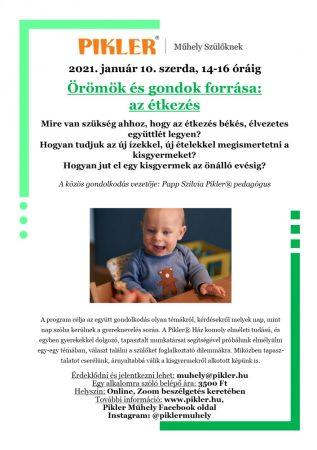 Pikler Műhely - Örömök és gondok forrása: az étkezés (2021.02.10.) - ONLINE