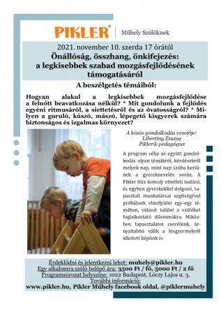Műhelybeszélgetés - Önállóság, összhang, önkifejezés: a legkisebbek szabad mozgásfejlődésének  támogatásáról  (2021.nov.10.)
